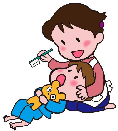 子どもと歯磨き ママのひざ枕ではみがきしてもらっているイラスト