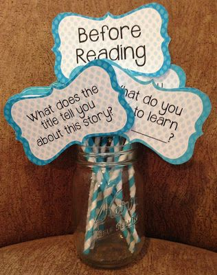 Guided Reading Question Cards...Color-coded questions to ask BEFORE, DURING, and AFTER reading.  $