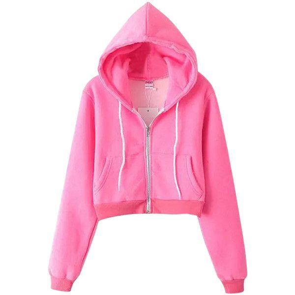 Pink Casual Ladies Long Sleeves Classic Zipper Plain Hoodie ($31) ❤ liked on Polyvore featuring tops, hoodies, outerwear, pink, pink hoodies, zipper hoodies, long sleeve hooded sweatshirt, zip hoodies and zip top
