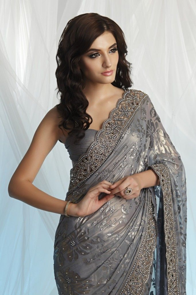 Brasso saree with cut work border Grey