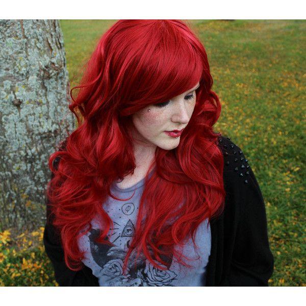 auburn red wig long curly wavy
