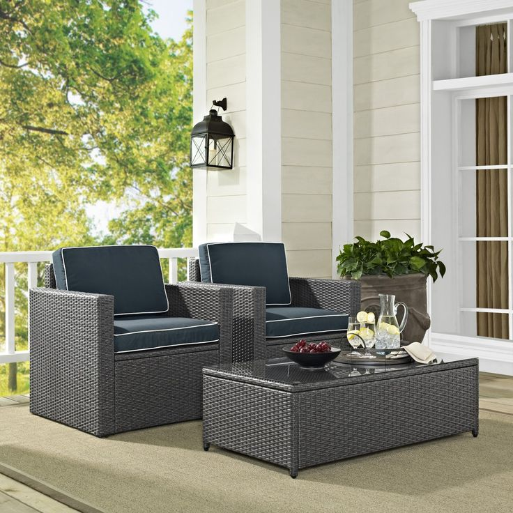 Palm Harbor 3PC Outdoor Grey Wicker Seating Set from Crosley. Palm Harbor Patio TablesHome ... - 17 Best Images About Discounted Wicker Patio Furniture From Home
