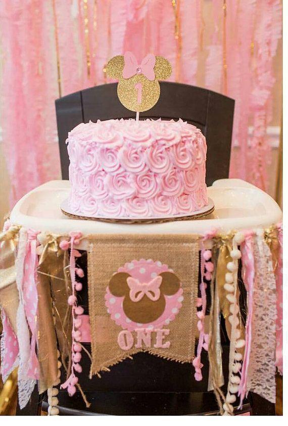 Oro y rosa MINNIE MOUSE cumpleaños trona trona por RawEdgeSewingCo