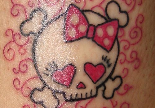 Girly Skull With Bow Tattoo | 26 Different Girly Skull Tattoos | CreativeFan