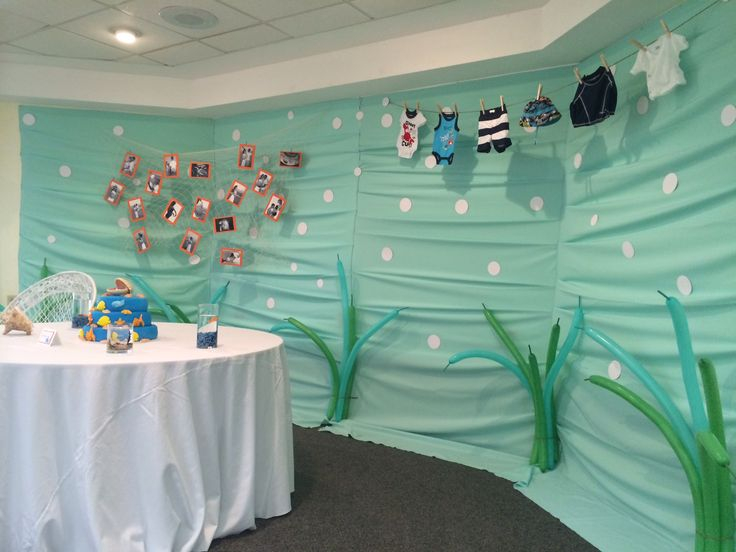 Under the sea baby shower decoration ideas baby shower for Baby clothesline decoration baby shower