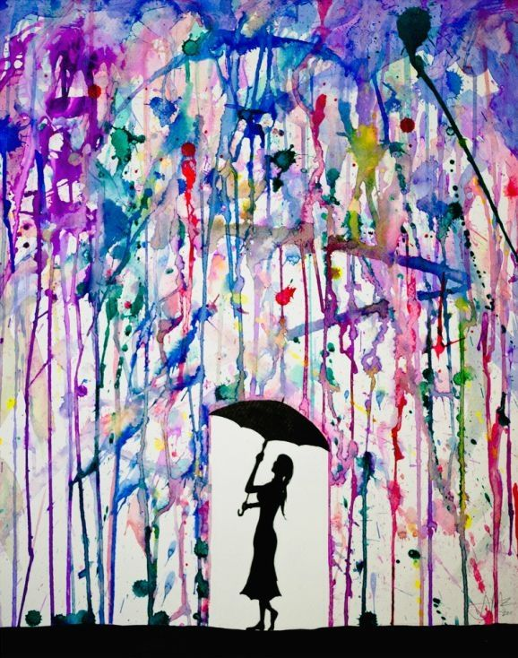 Put paint tape to cover the place to stencil, put paint filled balloons around canvas, pop with darts, let dry, use stencil to add silhouette. by Selkie~gal