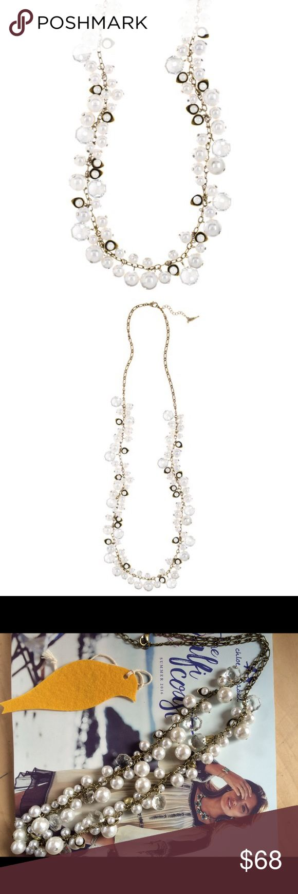 """NWT Chloe+Isabel Pearl + Crystal Necklace NWT Chloe+Isabel Pearl and Crystal Drops Long Necklace.  Single strand of multi-sized faux pearls, lotus-inspired metal castings, and round clear crystals on an antique brass chain.  Hangs from lobster clasp with 2"""" extender and c+i bird logo tag.   Brass ox plated Nickel-free 32"""" approx length Lobster clasp with 2"""" extender Chloe + Isabel Jewelry Necklaces"""