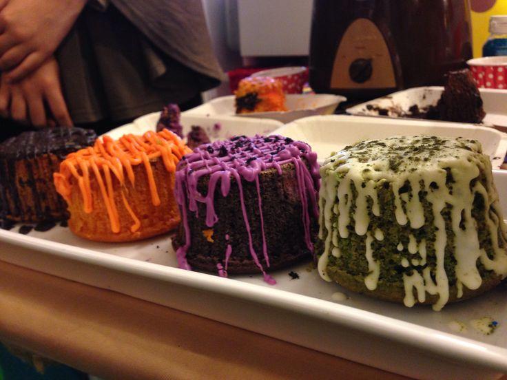 Rainbow lava cake