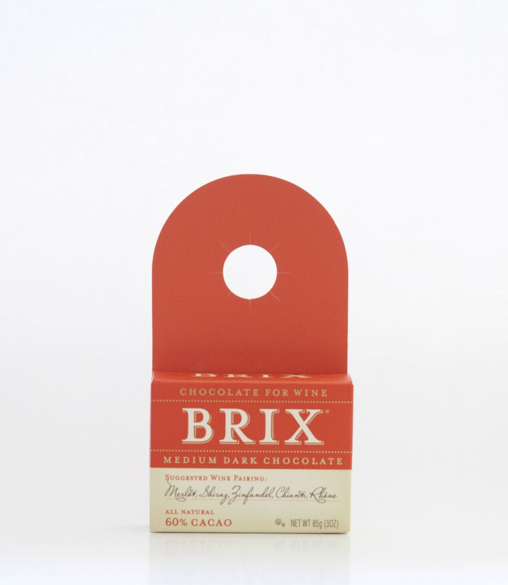 Brix 3oz Bar – Medium Dark  SUGGESTED WINE PARINGS: Merlot, Shiraz, Zinfandel, Rhône  Serving: Holding the Brix bar in place, insert the tip of a sharp utility knife to fracture Brix into bite sized morsels.