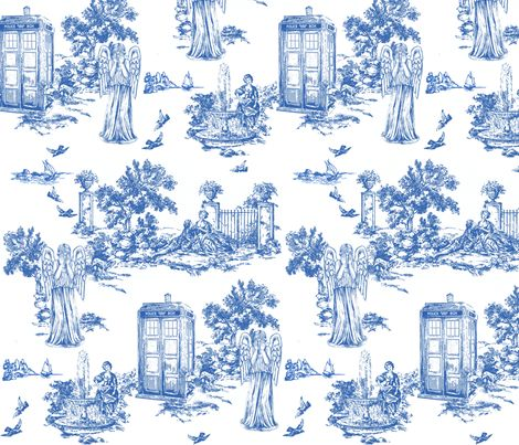 dr who weeping angels toile de jouy fabric by debi_birkin on Spoonflower - custom fabric