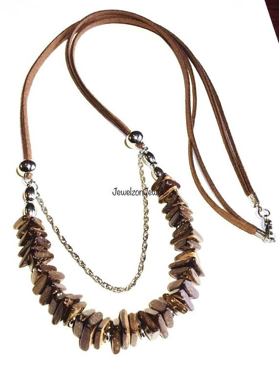 Coconut Shell Necklace  Stainless Steel Necklace  Summer