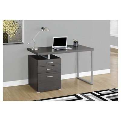 Computer Desk with Drawers - Grey - EveryRoom