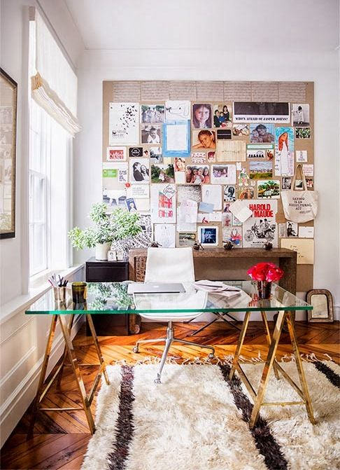 Office space // glass table top // inspiration bulletin board
