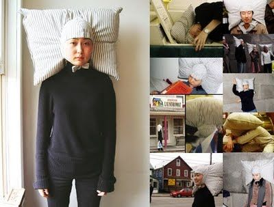 tie your head to a pillow and sleep anywhere...my boss would not like this!