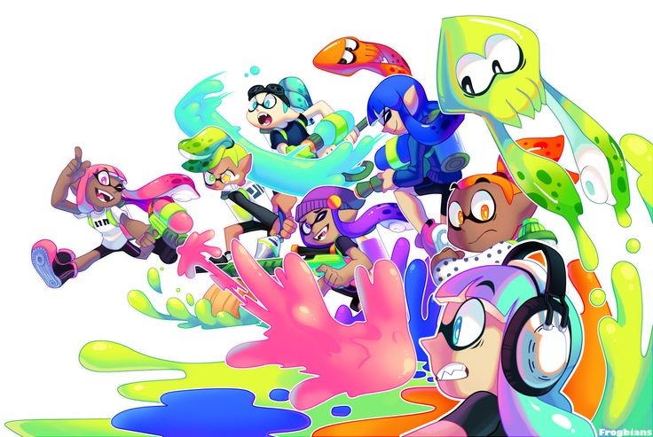 frogbians:  cutting it a little close, but here's my entry for the splatoon art contest yeehaw