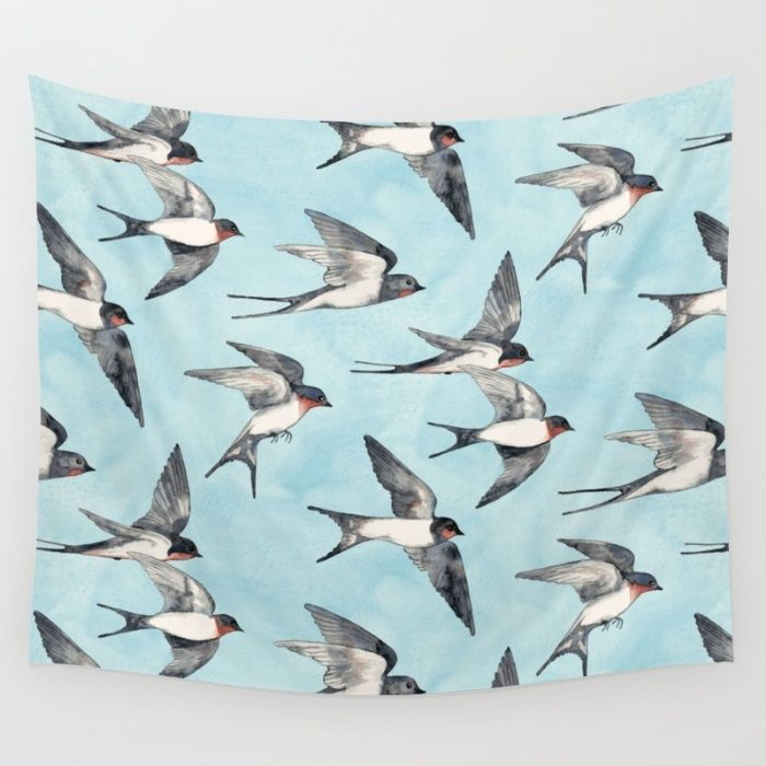 Blue Sky Swallow Flight Wall Tapestry