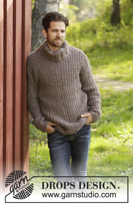 Jersey de punto para hombre DROPS con patrón de relieve y cuello en punto elástico, en Eskimo. Talla: S - XXL.