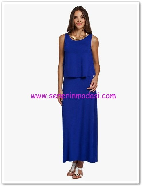 LC Waikiki saks mavisi uzun kolsuz elbise-30 TL