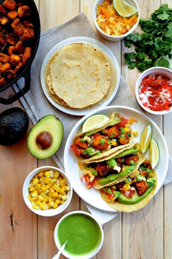"""The idea for these tofu tacos was my dad's. When he suggested it to me--memories of dry, cardboard tofu cubes from the barren wasteland that was my college dining hall's """"Vegan Station"""" suddenly resurfacing--my initial gut reaction was just...""""no."""""""