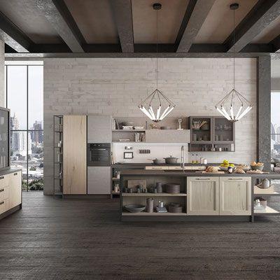 cucina industriale con isola