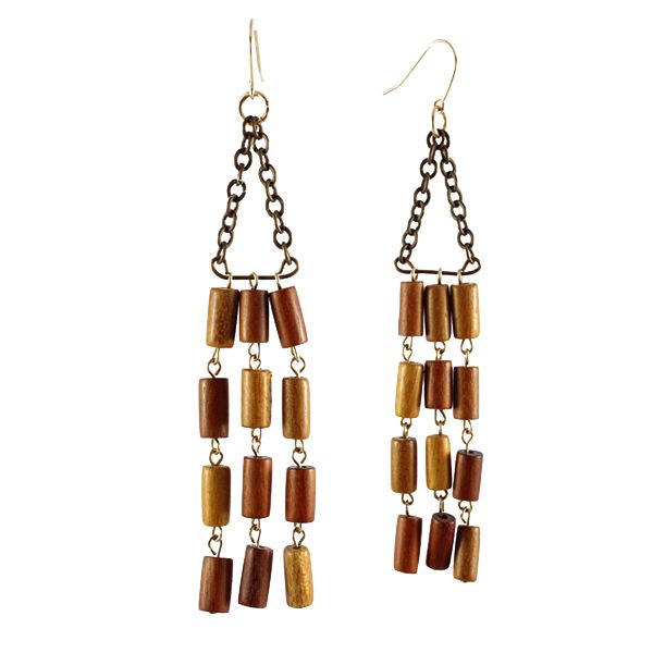 Bohemian Wood Earrings  Gold-Filled/$98