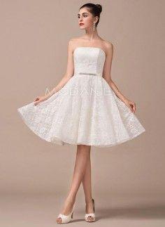 Magnifique robe de mariée civile bustier en dentelle pas cher