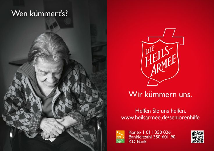 "Motiv zum Thema Seniorenhilfe aus der Heilsarmee-Plakatkampagne ""Wen kümmert's?"" im November 2013. Weitere Infos unter www.heilsarmee.de/seniorenhilfe //// Poster of the Salvation Army in Germany (Die Heilsarmee). The question on the left translates to ""Who cares?"". On the right underneath the shield the answer is ""We care."""