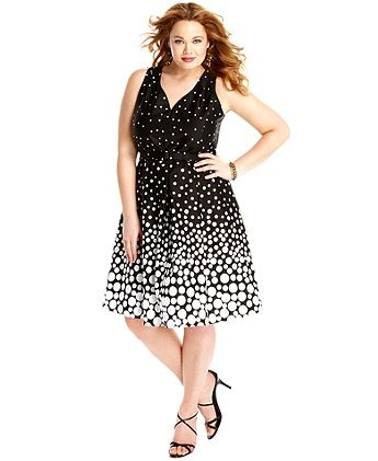 Spense Plus Size Dress, Sleeveless Printed Belted A-Line in Black/White by Macy's