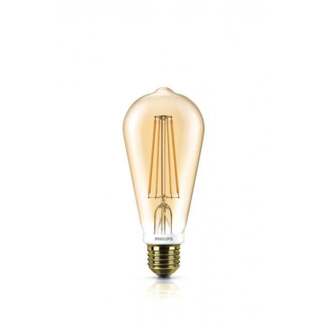 Philips LEDclassic ST64 Leuchtmittel E27, 630lm, 7W, gold, WW, Vintage, Dim.