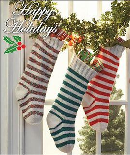 Striped Christmas Stocking Knitting Pattern : Materials: Bernat Happy Holidays I might try making these ...
