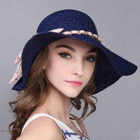 Bow floppy straw hat for summer UV beach ladies sun hats package