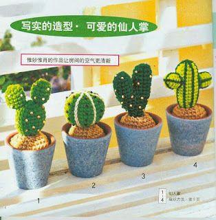 """"""" MOSSITA BELLA PATRONES Y GRÁFICOS CROCHET """": Cactus a crochet... Adorables =0)"""