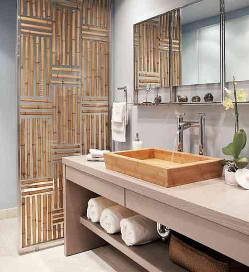 déco de salle de bain avec du bambou