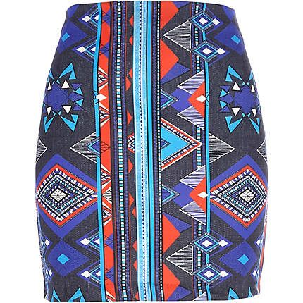 Blue aztec print mini skirt $16.00
