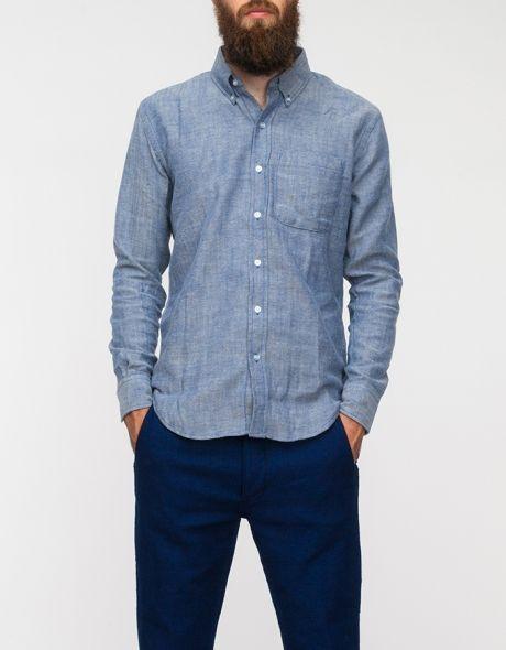 Oat/Blue Herringbone Shirt