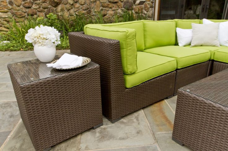 Furniture, Astounding Outdoor Wicker Furniture Design Ideas With Green White Cushions And White Flowers In White Sofa: Astounding Wicker Chairs Fascinating One At First Because Of Its Unique And Cheap  Design Ideas