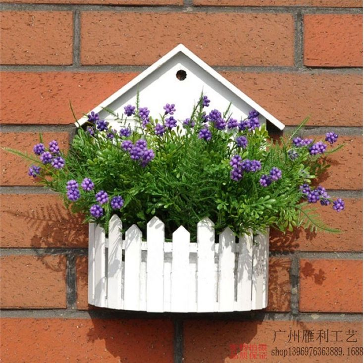 Simple white wood wooden fence wall hanging basket flower for Decorative hanging pots