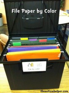 File Paper by Color {prevocational task for children with autism}
