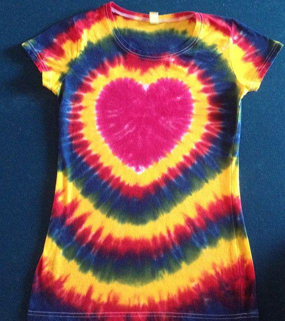 Heart Tie Dye Shirt Free Shipping Tye Die HANDMADE by tiedye4ink