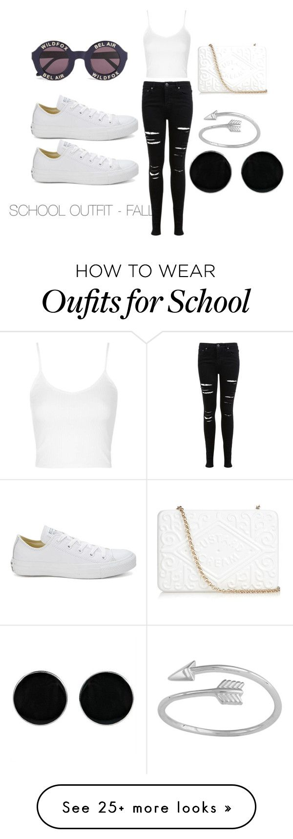 """SCHOOL OUTFIT - FALL"" by dance2454 on Polyvore featuring Topshop, Miss Selfridge, Converse, Anya Hindmarch, Wildfox and AeraVida"