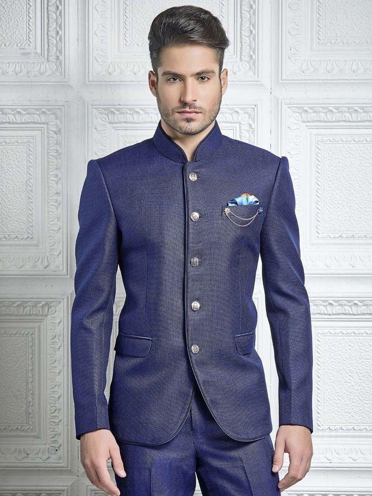 Синий мужской костюм-двойка из плотного льна