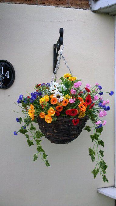 Artificial Hanging Basket Out Door, Mixed wild Flowers, Flowers , Basket and Bark: Amazon.co.uk: Garden & Outdoors