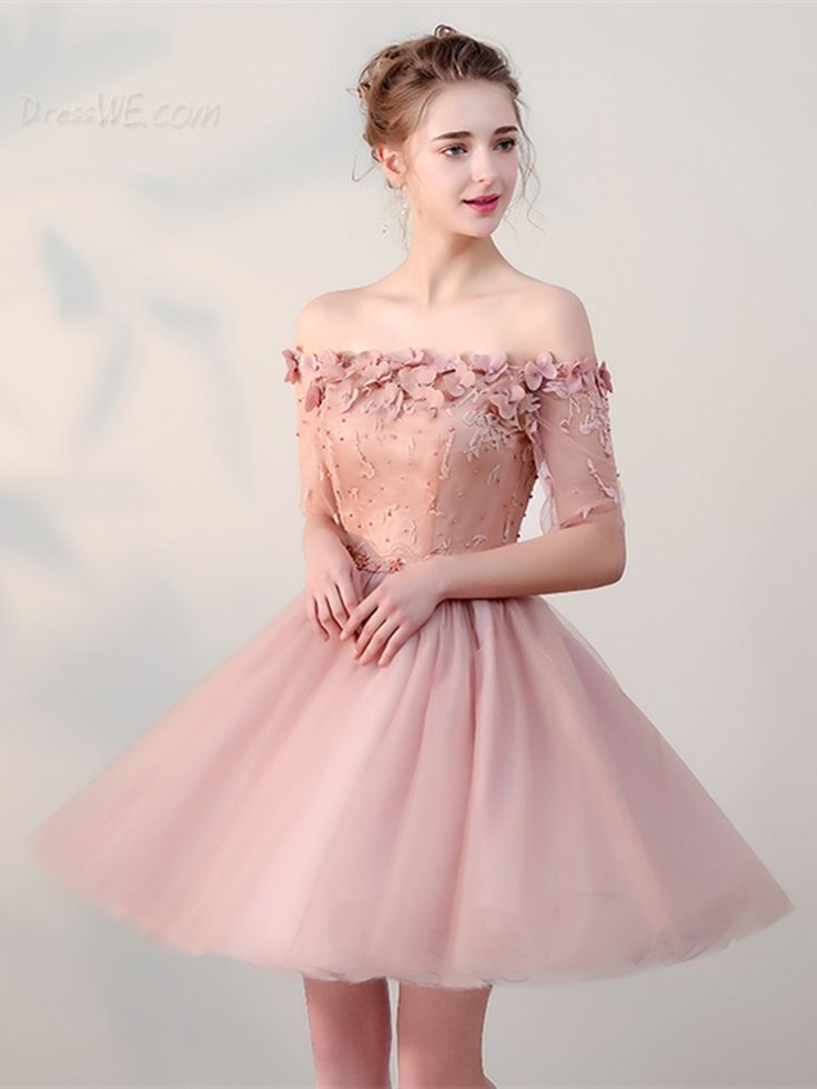 $98.99 Dresswe.com SUPPLIES Cheap A Line Off The Shoulder Half Sleeve Lace-Up Homecoming Dress
