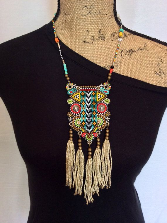 Tribal Beaded Bib Necklace with Tassels Boho by perlinibella, $95.00. #jewelry #tribal #boho #necklace