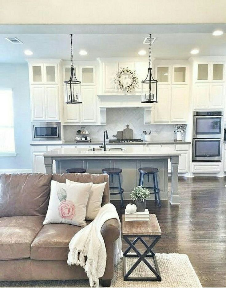 Love this color combo and open kitchen to the living area!!