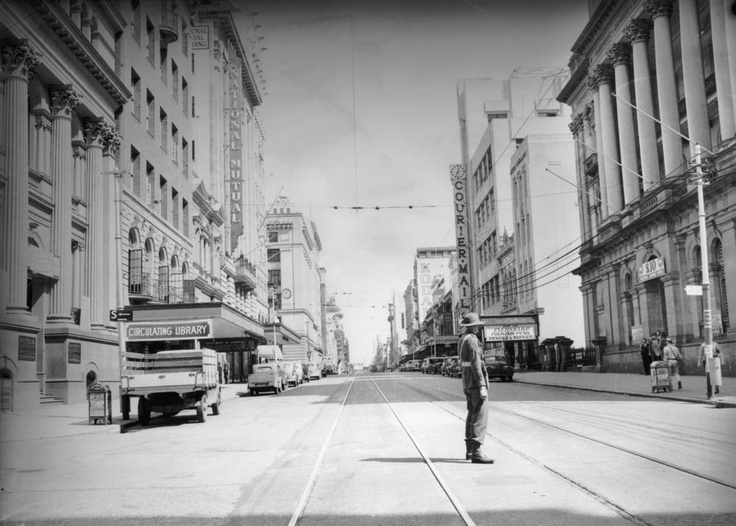 Queen Street, during an air raid test alarm, Brisbane, 1942  ...Brisbane could never claim to be a metropolis. One of the biggest problems for out-of-towners, including Australians from other States, was actually finding the city centre...  John Oxley Library, State Library of QLD Neg: 99716