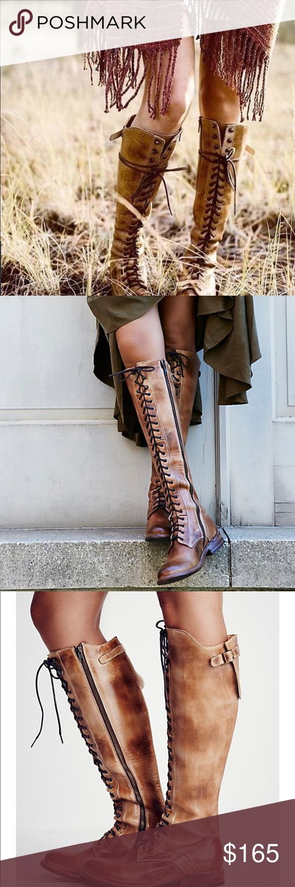 NIB Bed Stu Della Rustic Size 8 Rigged and distressed leather tall boots featuring adjustable Lace up detailing. Inside zip for easy on-off and padded footbed. •heel 1.25 in • shaft 17.25 in • sold out at Free People • retail for $345 Bed Stu Shoes Lace Up Boots