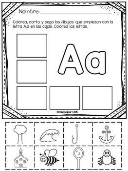 """Set de pginas para cortar y pegar imgenes para cada letra del abecedario en espaol. En las letras """"q"""",""""w"""" y """"x"""" se incluyen imgenes que contienen el sonido dentro de la palabra (no solo inicial). Para las letras """"c""""y """"g"""" se incluyen imgenes para el sonido fuerte.Tambin Puede interesarte:Spanish Alphabet tracing/writing matslibro del abecedarioColorea las palabras que empiezan con...Las Slabas BookletsColore el abcSi te gusta mi trabajo dale """"follow"""" a mi tienda para recibir notificaciones…"""