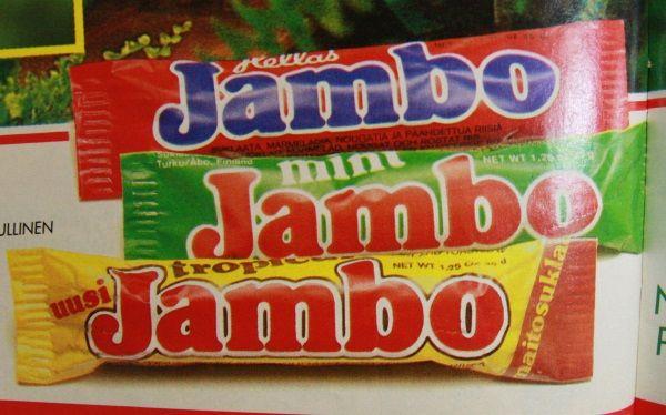 Jambo-suklaapatukoita 1980-luvun alusta.