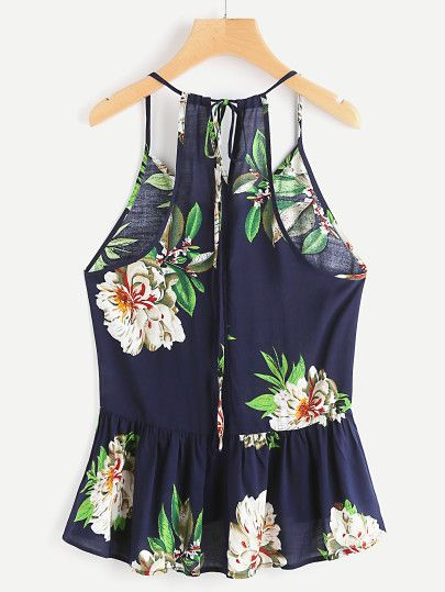 Camisola con péplum con estampado de flor y espalda con abertura -Spanish SheIn(Sheinside) Sitio Móvil